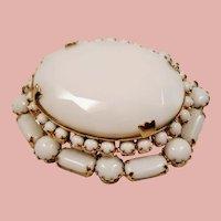 Vintage White Milk Glass Tiered Brooch