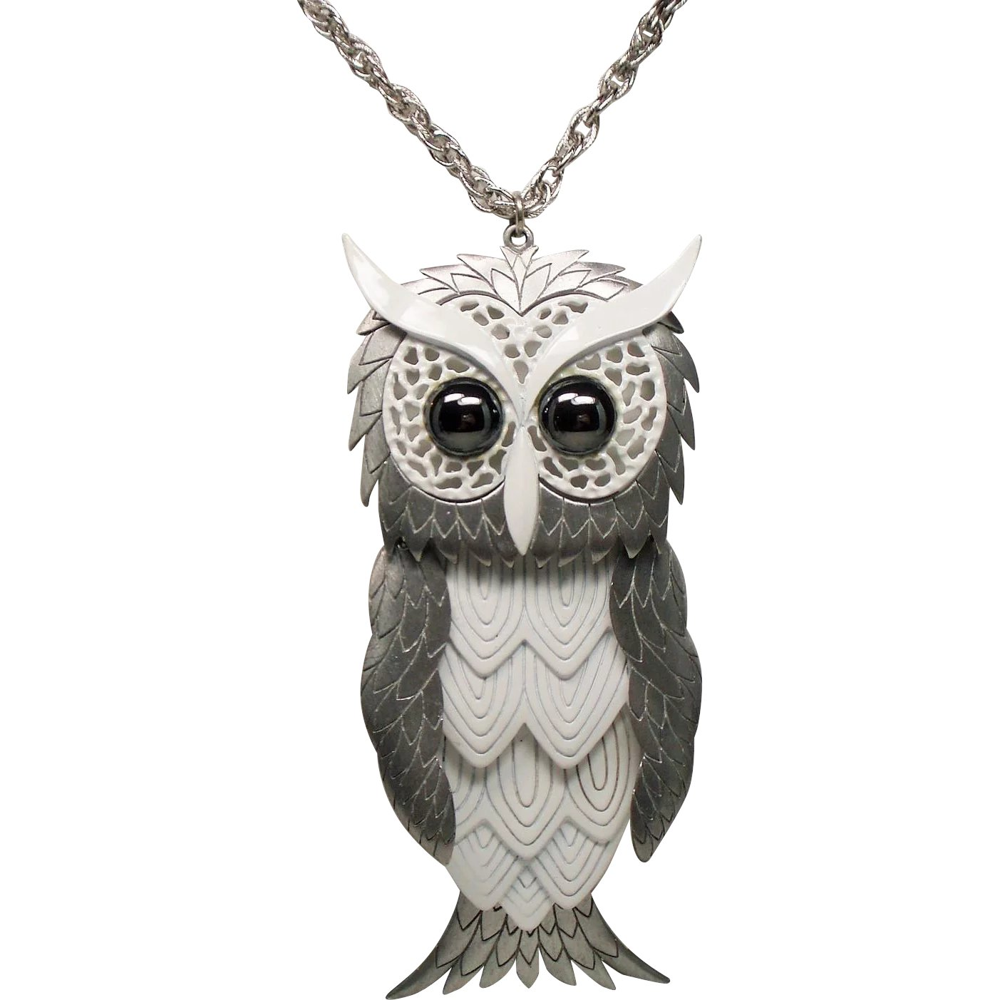 owl sterling silver in with pendant diamonds and gold onyx itm ct