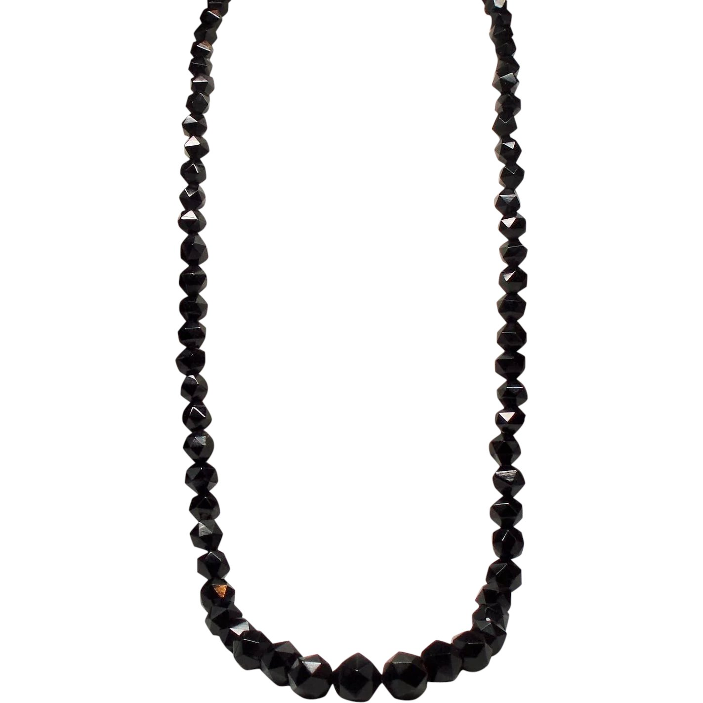 Antique Victorian Whitby Jet Faceted Bead Opera Length