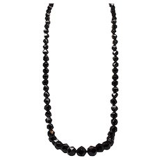 Antique Victorian Whitby Jet Faceted Bead Opera Length Necklace