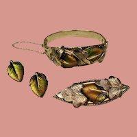 Vintage Whiting & Davis Molded Glass Leaf Bracelet Brooch Earrings Parure