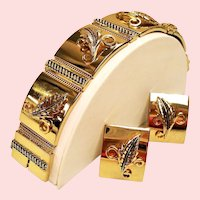 Vintage Whiting and Davis Leaf Panel Bracelet Earrings Set
