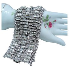 Vintage Incredible Extra Wide Rhinestone Bracelet