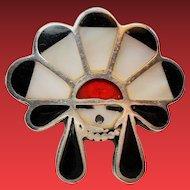 Vintage Native American Inlay Kachina Sun Face Sterling Ring