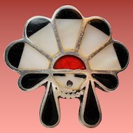 Vintage Native American Zuni Inlay Sun Face Sterling Ring