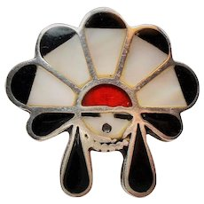 Vintage Native American Inlay Kachina Sun Face Sterling Ring