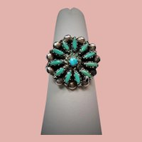 Vintage Native American Zuni Turquoise Petit Point Sterling Ring