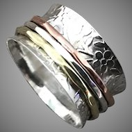 Sterling Silver Brass And Copper Spinner Ring