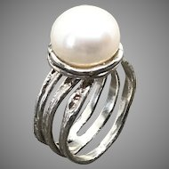Freshwater Pearl Sterling Silver Ring Size 7