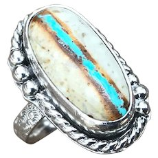 Royston Ribbon Turquoise Sterling Silver Ring Size 8