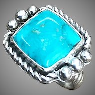 Turquoise Sterling Silver Gallery Ring Size 7.5