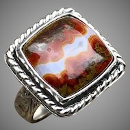 Moroccan Seamed Agate Sterling Silver Ring Size 10