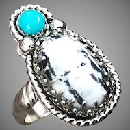 White Buffalo Turquoise Sterling Silver Ring Size 8
