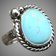 White Horse Turquoise Sterling Silver Ring Size 8.5