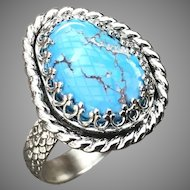 Kazakhstan Lavender Turquoise Sterling Silver Ring Size 9