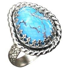 Kazakhstan Lavender Turquoise Sterling Silver Ring Size 9