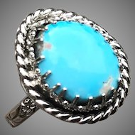 Kingman Turquoise Sterling Silver Ring Size 9.5