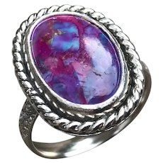 Purple Turquoise Sterling Silver Ring Size 9.5