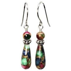 Mosaic Agate Dangle Earrings