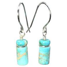 Turquoise Sea Sediment Jasper Silver Earrings