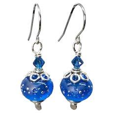 Blue Lampwork Glass Earrings