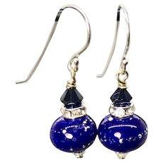 Cobalt Blue Lampwork Glass Earrings