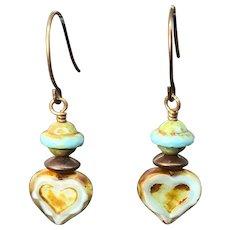 Vintage Czech Glass Heart Earrings