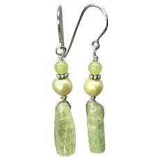 Green Kyanite And Pearl Dangle Earrings