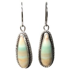 Indonesian Blue Opal Wood Sterling Silver Earrings