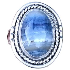 Lapis Lace Agate Sterling Silver Ring Size 8