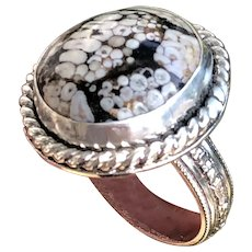 Indonesian Snakeskin Agate Sterling Silver Ring Size 10.5