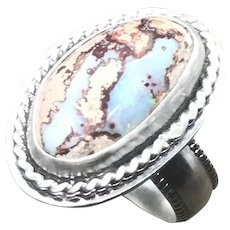 Mexican Cantera Fire Opal Sterling Silver Ring Size 7.25