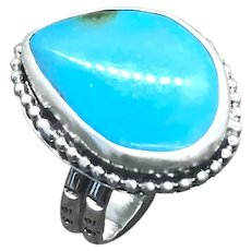 Kingman Turquoise Sterling Silver Ring Size 10