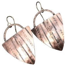 Hand Stamped Copper Shield Earrings