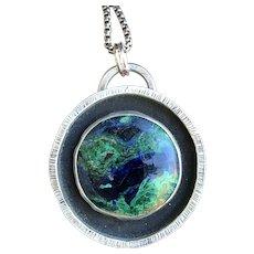 Azurite Malachite Sterling Silver Pendant Necklace