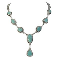 Pilot Mountain Turquoise  Sterling Silver Blue Lariat Necklace