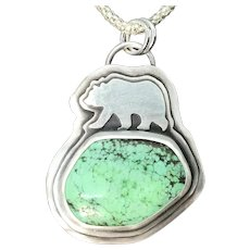 Variscite Sterling Silver Bear Pendant Necklace