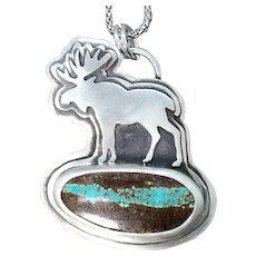 Turquoise Sterling Silver Moose Necklace