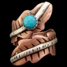Rustic Copper Turquoise Adjustable Feather Ring