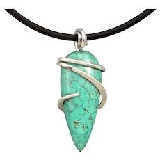 Turquoise Sterling Silver Wrapped Pendant Necklace
