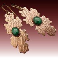 Green Malachite Copper Earrings