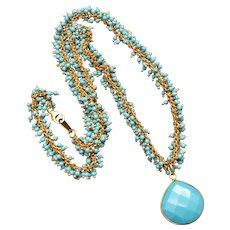 Turquoise Pendant Fringe Necklace