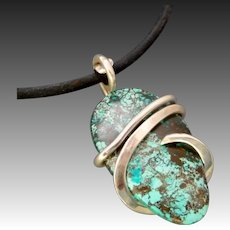 Azurite Silver Wrap Pendant Necklace