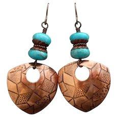 Copper Turquoise Shield Earrings