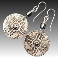 Rustic Silver And Hematite Relic Earrings