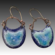 Blue Textured Copper Enamel Earrings