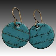 Rustic Teal Enamel Love Letter Earrings