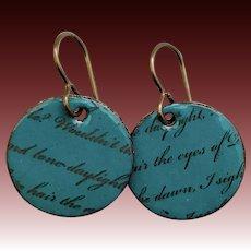 Rustic Teal Enamel Love Letter Earrings