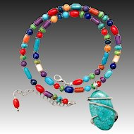 Southwestern Gemstone Beaded Multi Stone Necklace With Turquoise Pendant