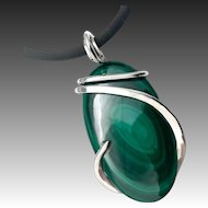 Green Malachite Silver Wrapped Pendant Necklace